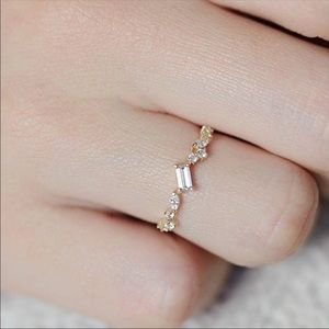Gold Plated CZ Cluster Ring